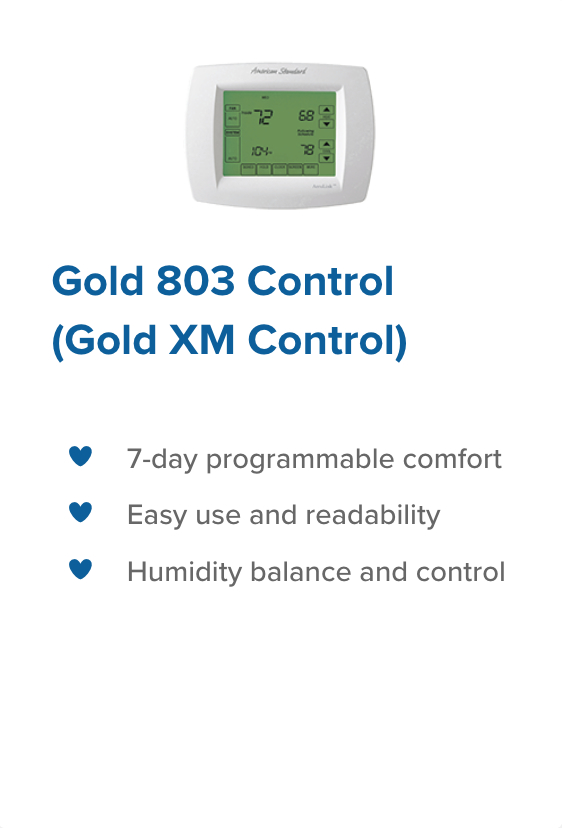 Gold 803 control legacy heating and cooling
