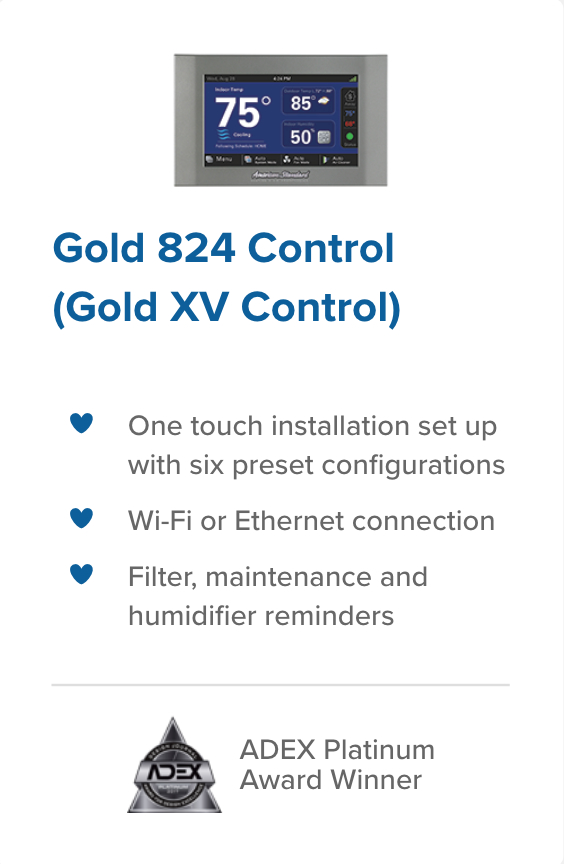 Gold 824 Control legacy heating and air