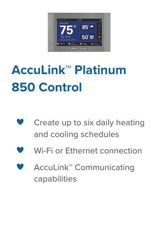 Platinum 850 Control legacy heating and cooling