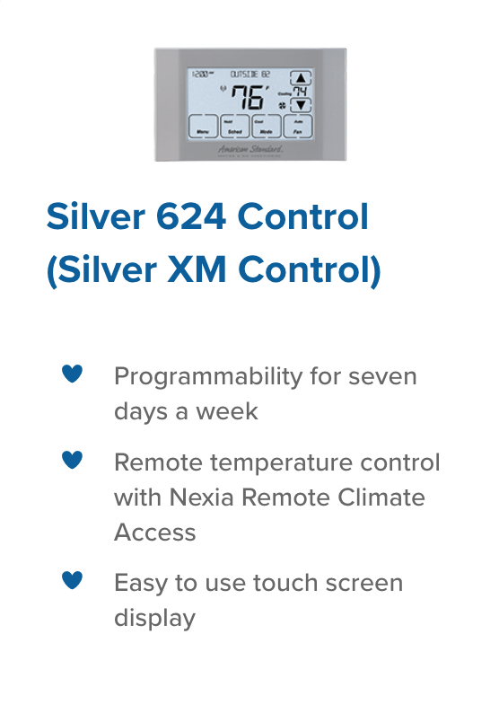 Silver 624 control legacy heating and cooling