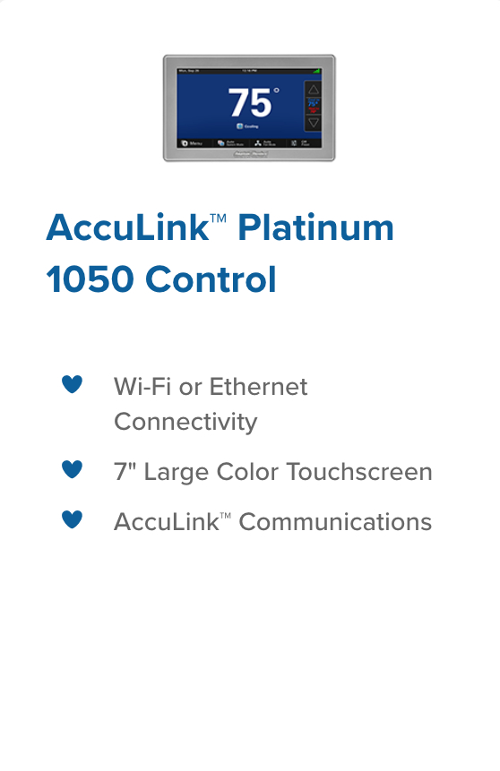 acculink 1050 control legacy heating and cooling